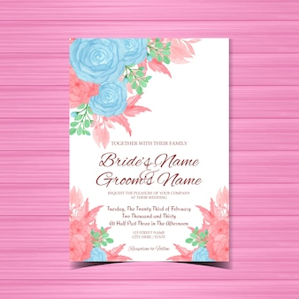 Romantic wedding invitation with blue and pink flowers