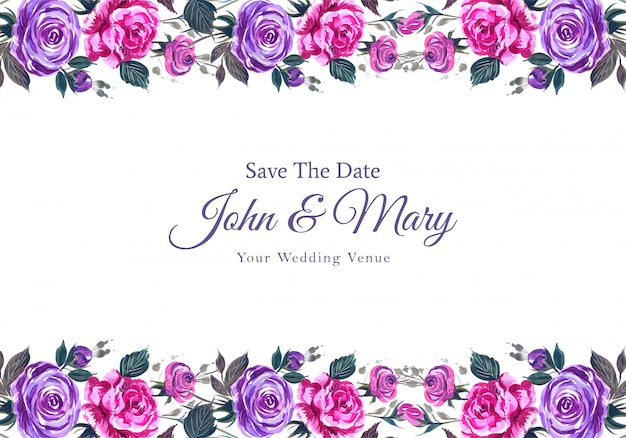 Romantic wedding invitation with colorful flowers background