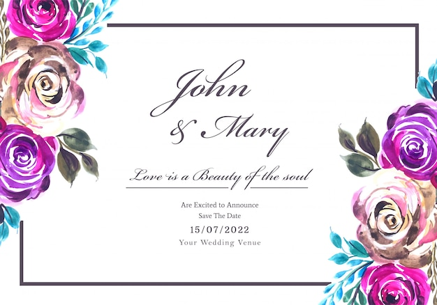 Romantic wedding invitation with colorful flowers card background