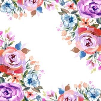 カラフルな花カードの背景とロマンチックな結婚式の招待状