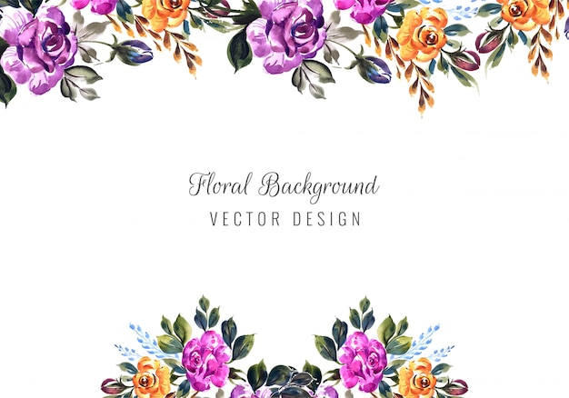 Romantic wedding invitation with colorful flowers card template