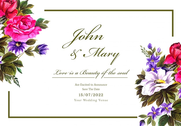 Romantic wedding invitation with colorful flowers card
