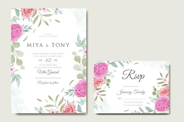 カラフルな花と葉でロマンチックな結婚式の招待状