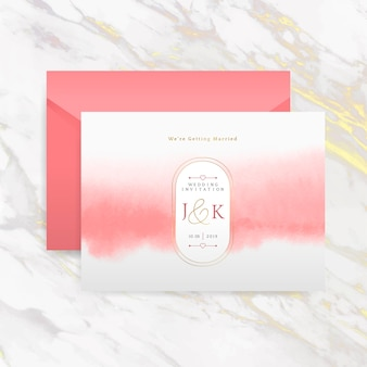 Romantic wedding invitation with envelope vector