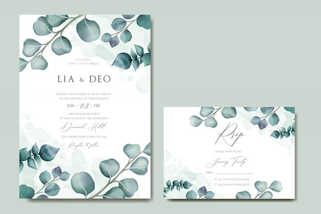 Romantic wedding invitation with eucalyptus leaves frame