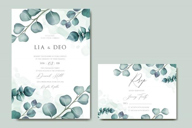 ユーカリの葉のフレームでロマンチックな結婚式の招待状