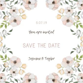 Romantic wedding invitation with flowers