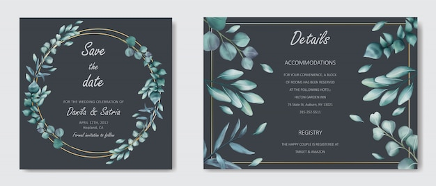 Romantic wedding invitation with leaves