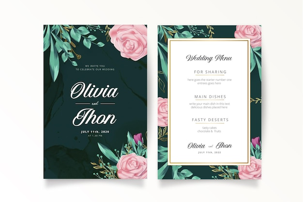 Romantic wedding invitation with realistic flowers template