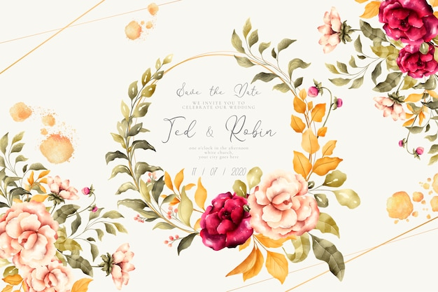 Romantic wedding invitation with vintage flowers