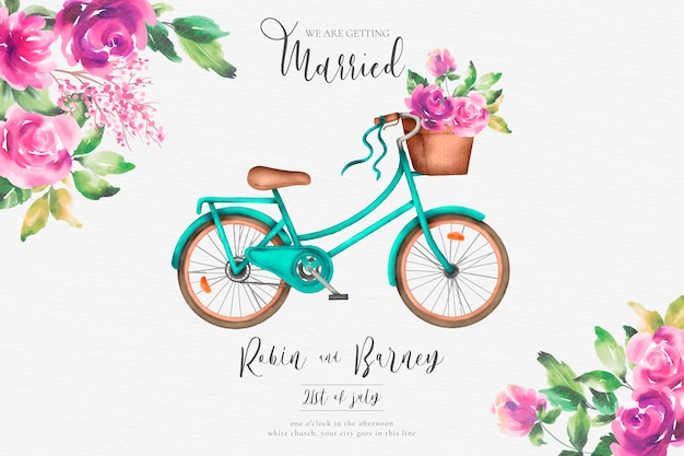 Romantic wedding invitation with watercolor bicycle and flowers