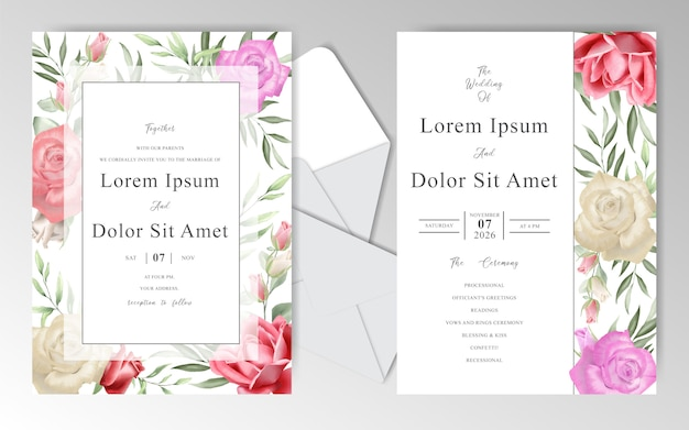 Romantic wedding stationary with  beautiful  watercolor roses