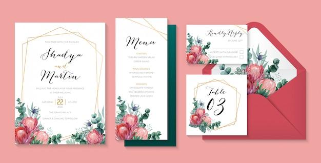 プロテア女王、ユーカリ、アザミ、ベリーを使ったロマンチックなウェディングステーショナリー。水彩結婚式花イラストセット