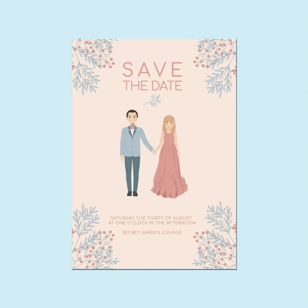 Romantic whimsical save the date invitation card, cute couple