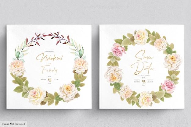 ロマンチックな白いバラ水彩ウェディングカードセット