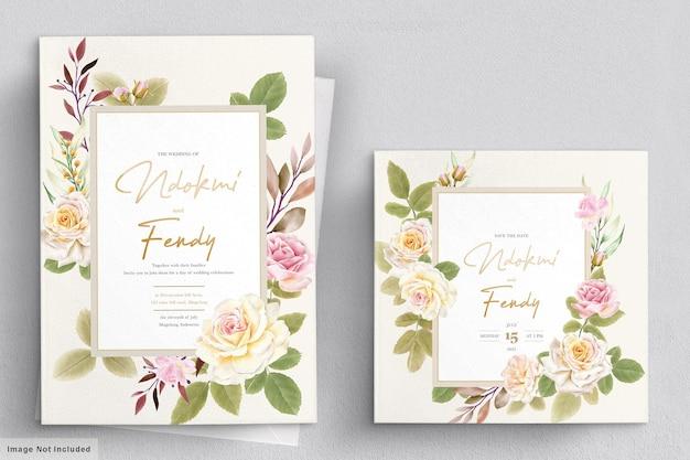 Романтические белые розы акварель свадебный набор карт