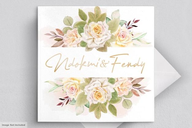 ロマンチックな白いバラの水彩画のウェディングカード