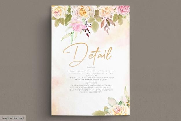 Романтические белые розы акварель свадебная открытка