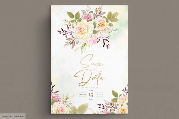 로맨틱 화이트 장미 수채화 웨딩 카드