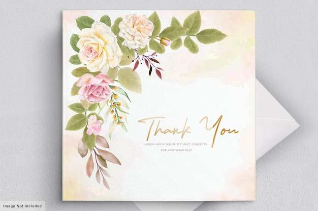 Romantic white roses watercolor wedding card