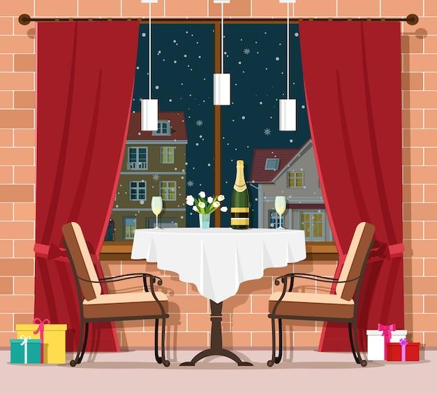 ロマンチックな冬の夜のコンセプトです。スタイリッシュなビンテージレストランテーブルと椅子。レストランのインテリアでクリスマスと新年のお祝い。図。