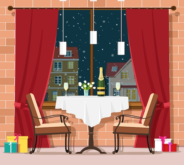 Romantic winter evening concept. stylish vintage restaurant table with chairs. christmas and new year celebration in restaurant interior. illustration.