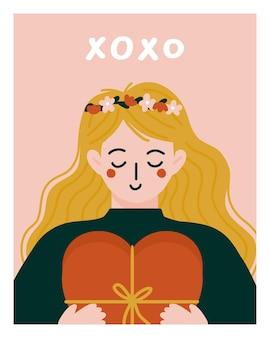 Романтичная женщина дает подарок ко дню святого валентина.