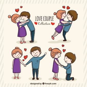 Romantic young couple in different postures