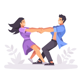 Romantic young couple holing hands and spinning around, forming a heart shape