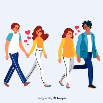 Романтические молодые пары гуляют вместе
