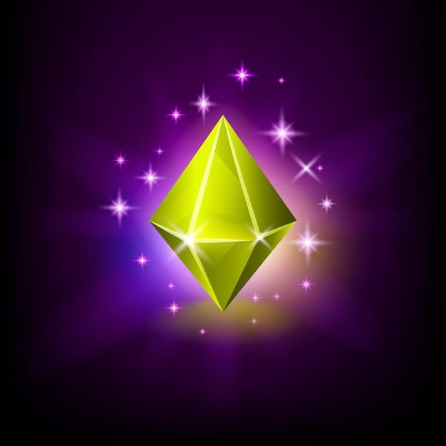 Ромбоидный желтый сияющий драгоценный камень с волшебным сиянием и звездами на темном фоне