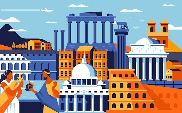 Красочный плоский стиль дизайна города рима. городской пейзаж со всеми известными зданиями. достопримечательности композиции города рима для дизайна. фон путешествий и туризма. векторная иллюстрация