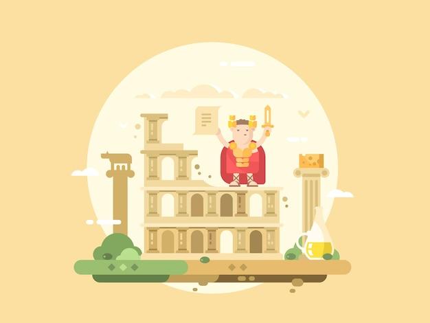 ローマシティフラット。コロッセオの建物と剣を持ったシーザー。ベクトルイラスト