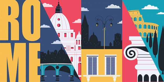 Рим иллюстрация с достопримечательностями и горизонтом