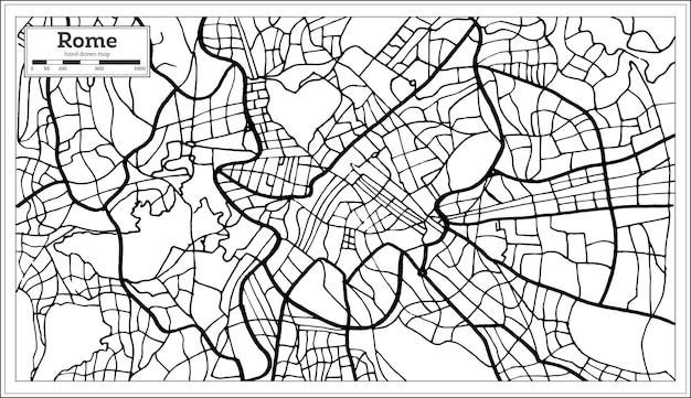 흑백 색상의 로마 이탈리아 도시 지도. 손으로 그린. 벡터 일러스트 레이 션.