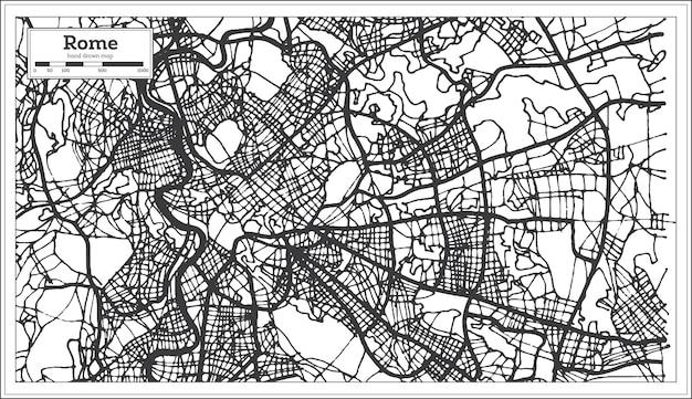 黒と白の色でローマイタリアの都市地図。ベクトルイラスト。白地図。