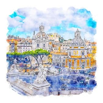 Рим италия акварельный эскиз рисованной иллюстрации