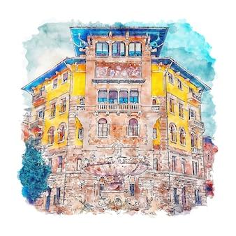 Рим италия акварельный эскиз рисованной