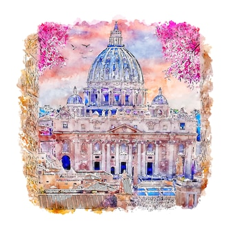 Rome italy watercolor sketch hand drawn