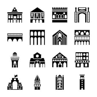 Rome landmarks icons