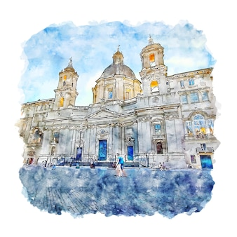 Rome lazio italy watercolor sketch hand drawn