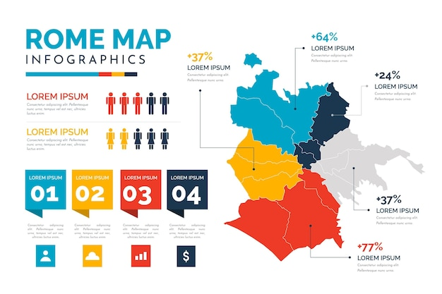 Rome map infographics in flat design