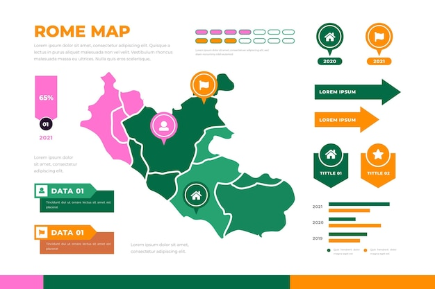 Инфографика карта рима плоский дизайн