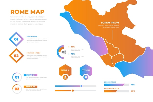 ローマ地図インフォグラフィックグラデーションスタイル