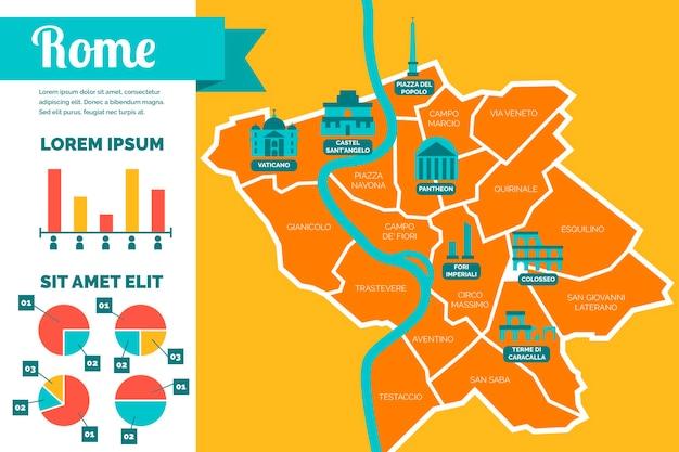 Инфографика карты рима в плоском дизайне