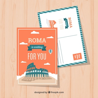 Rome postcard template with flat design