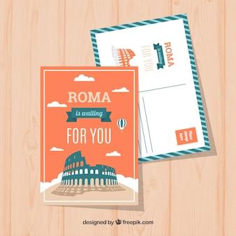 Рим шаблон открытки с плоским дизайном
