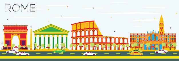 色の建物と青空とローマのスカイライン。ベクトルイラスト。