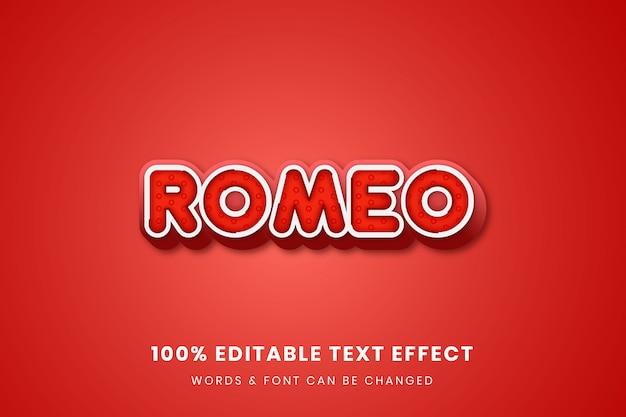 Romeo 3dの完全に編集可能なテキスト効果