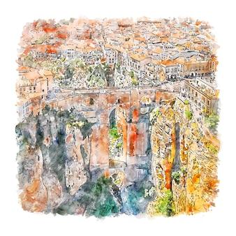 Ronda 안달루시아 스페인 수채화 스케치 손으로 그린 그림